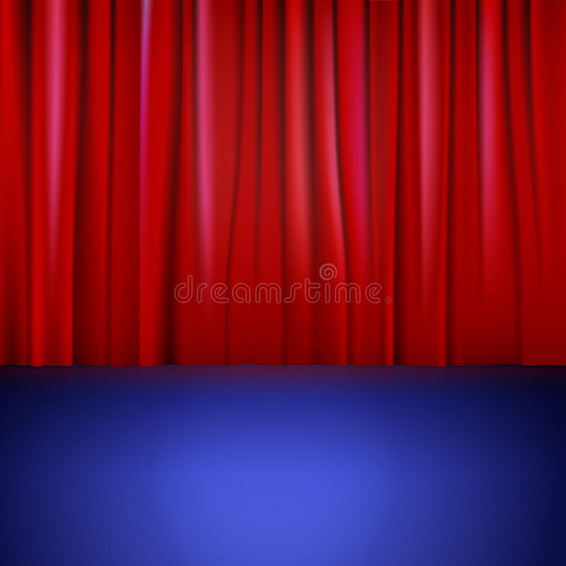 Stage with red curtain. stock illustration