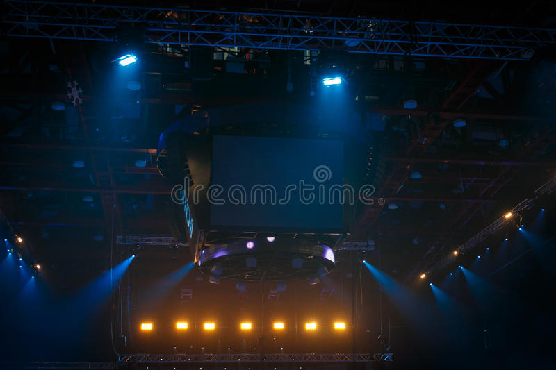 stage on rock concert stock images
