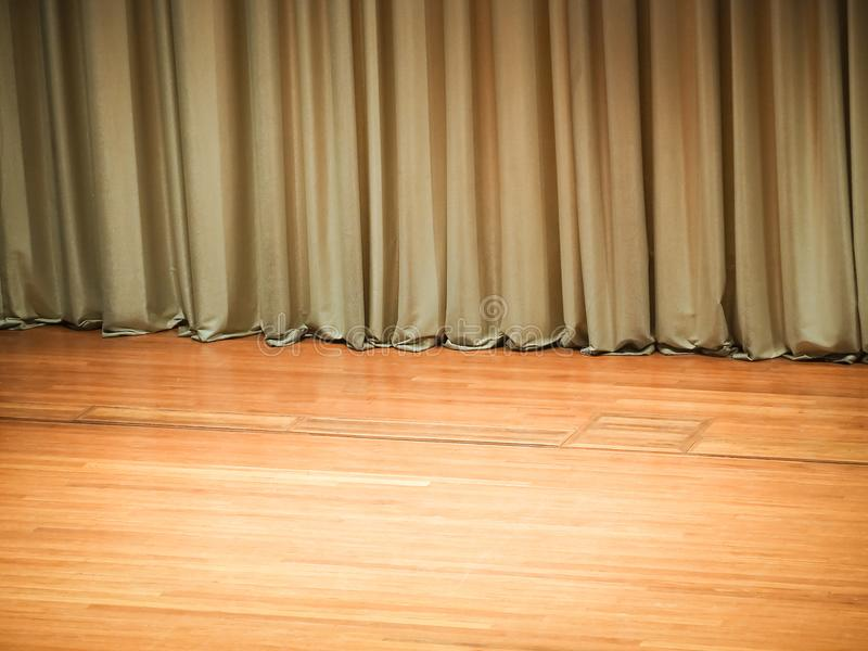Stage for the show and gold stage curtain. Idea space image for place your picture or text royalty free stock photos