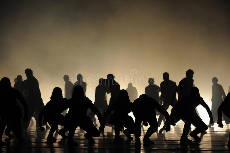 The stage of silhouette. Guangdong Shawan Town is the hometown of ballet music, the past focuses on the historical development of Shawan Guangdong music as royalty free stock photography