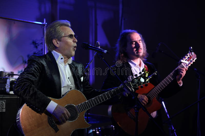 On stage singing master of Russian romance, Russian pop star, singer and musician Alexander Malinin.. royalty free stock photos