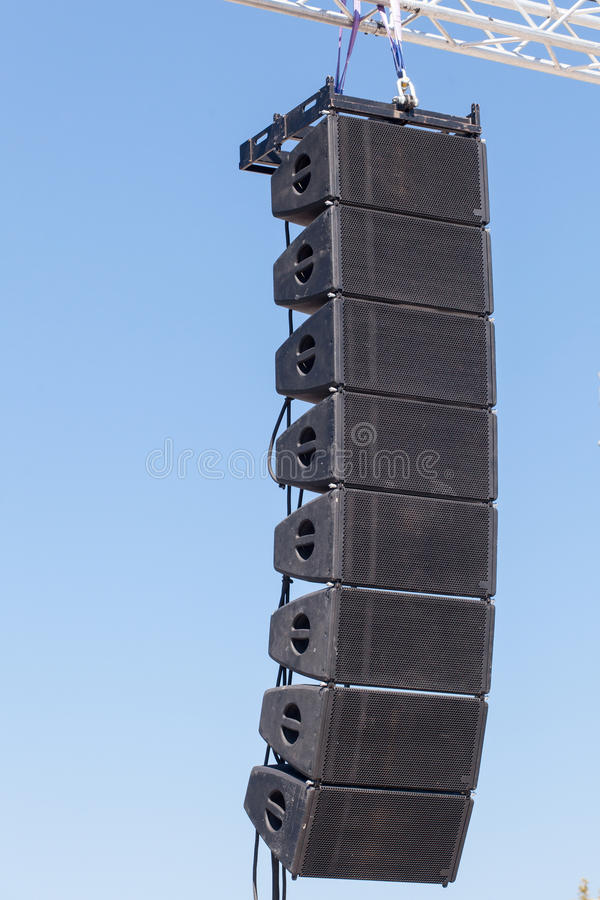 Stage sound equipment. Powerful stage concerto industrial audio speakers royalty free stock image
