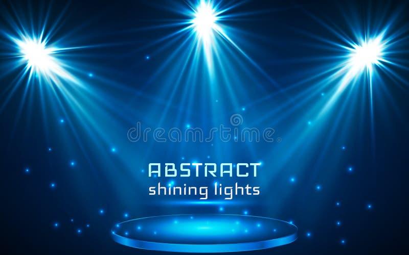 Stage spot lighting. magic light. blue vector background.  stock illustration