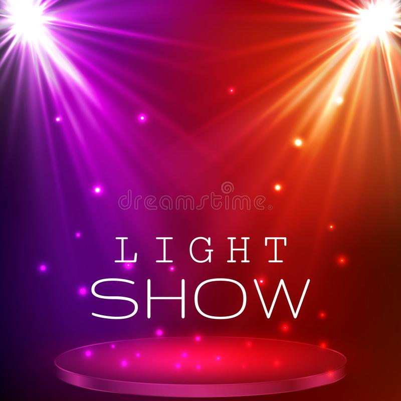 Stage spot lighting. magic light. vector background.  royalty free illustration