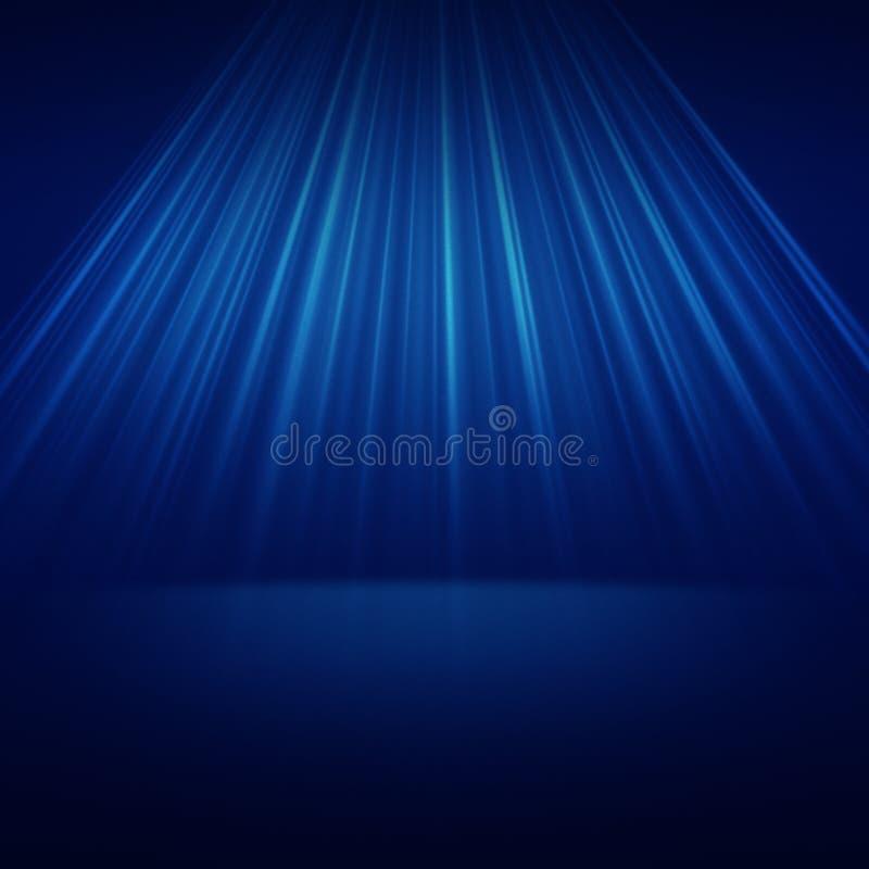 Stage spot lighting over blue. Background vector illustration