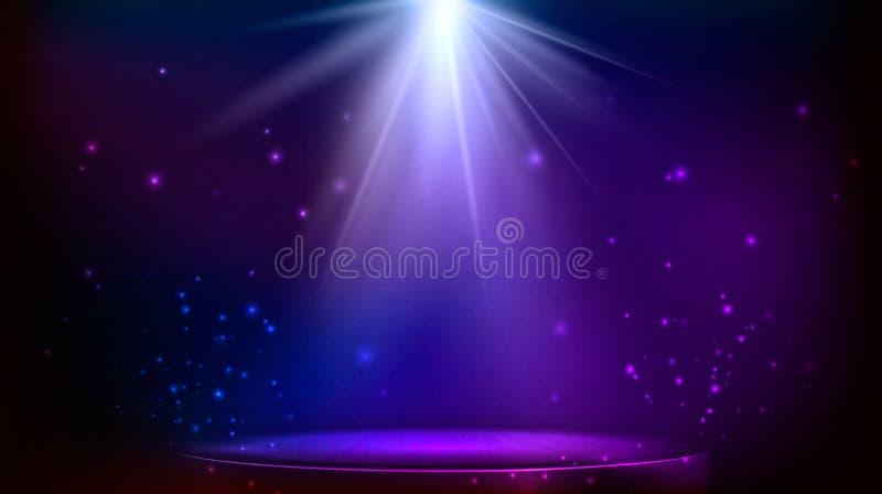 Stage spot lighting. Vector illustration. Stage spot lighting. magic light. blue and purple vector background stock illustration