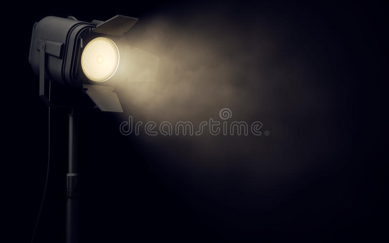 Stage spotlight in dark background stock illustration