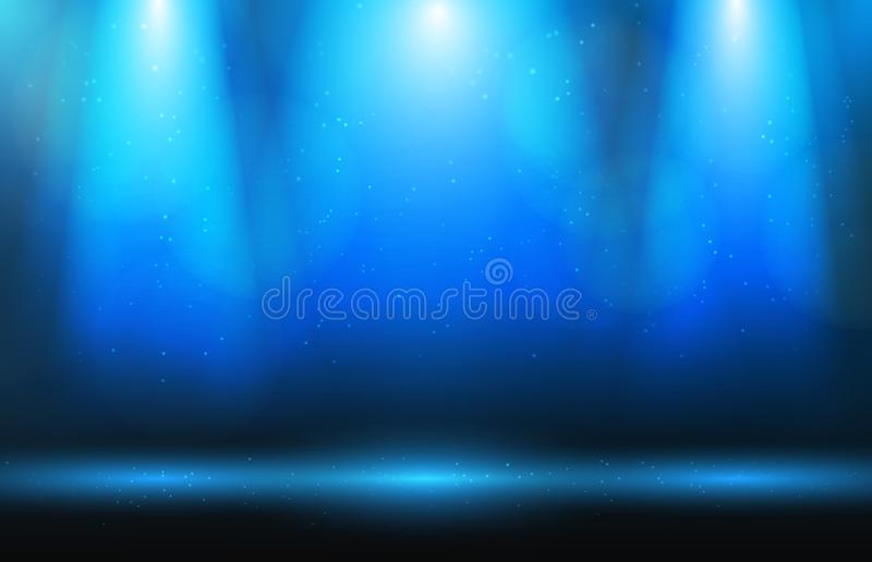 stage and spotlight and dust on blue royalty free stock photography