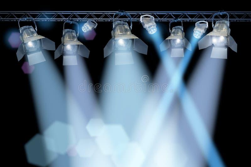 Stage spotlight rack stock photos