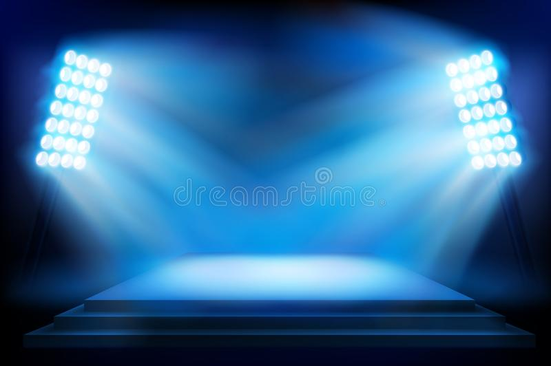 Stage on the stadium. Vector illustration. Illuminated stage on the stadium. Stadium before the show. Vector illustration royalty free illustration