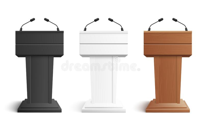 Stage stand or debate podium rostrum with microphones vector illustration isolated on white. Stage stand or debate podium rostrum with microphones vector royalty free illustration