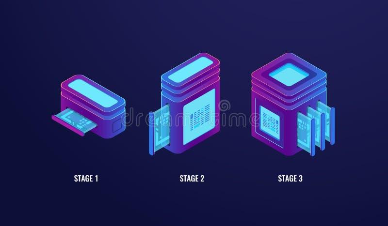 Stage upgrading or tariff plan, server room web hosting, technology progress steps, database and data center ultraviolet. Neon dark isometric vector vector illustration