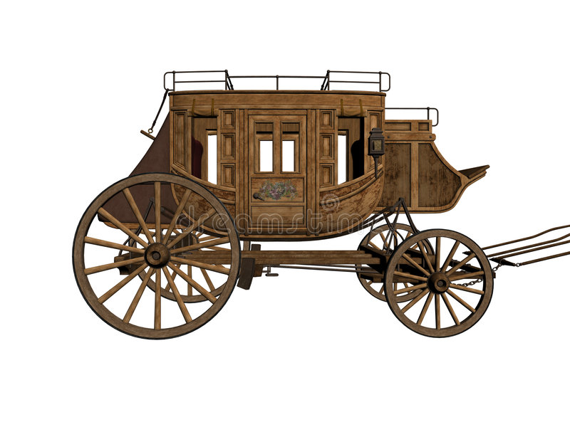 Stagecoach. Picture of old-west stagecoach isolated on white