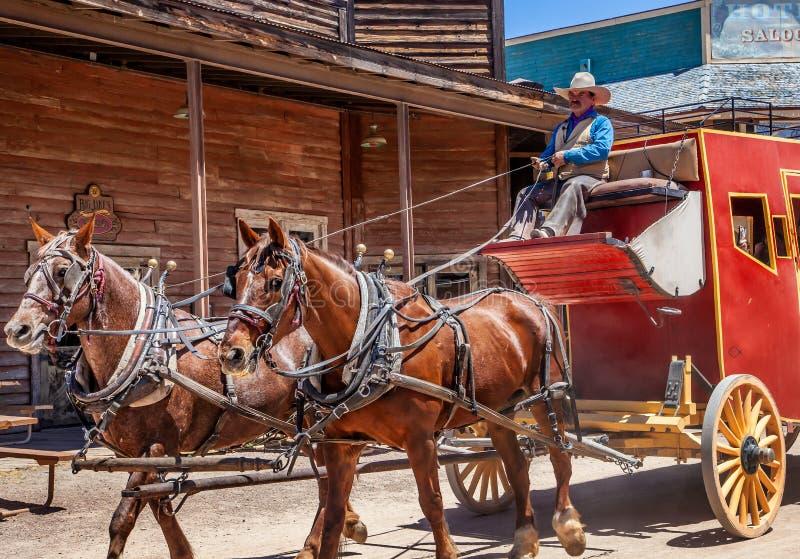 Stagecoach bei altem Tucson lizenzfreie stockfotografie