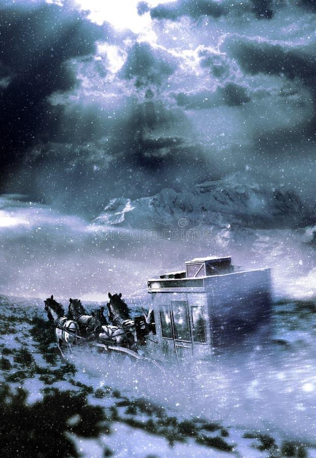 Stagecoach die bergen kruisen stock illustratie