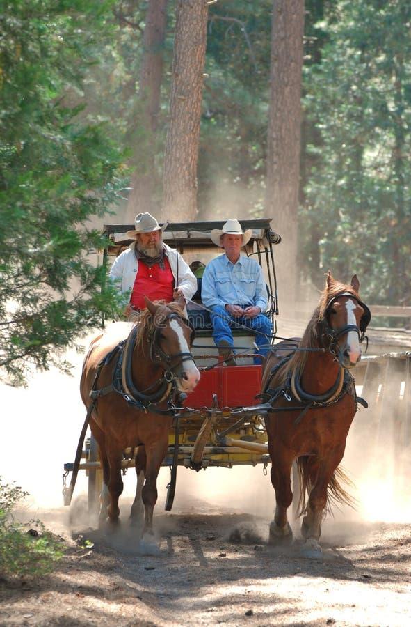 Stagecoach die de Siërra Nevadas doorneemt stock foto's