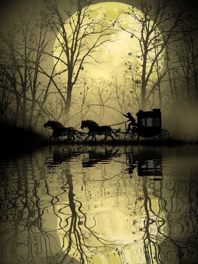 Stagecoach die het moeras kruisen vector illustratie