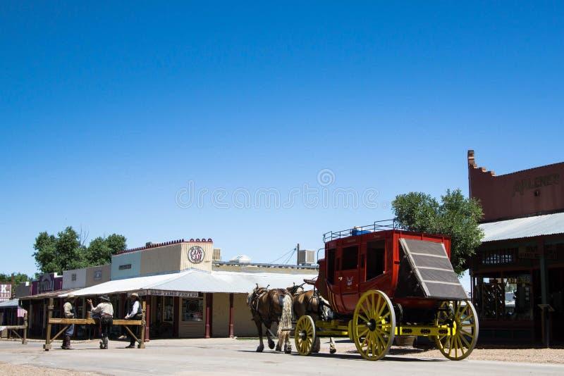 Stagecoach en cowboys royalty-vrije stock foto