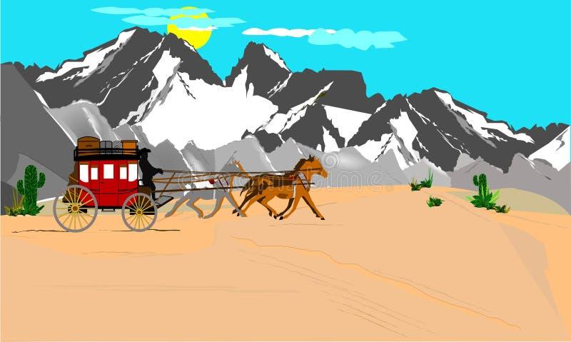 Stagecoach no deset ilustração do vetor
