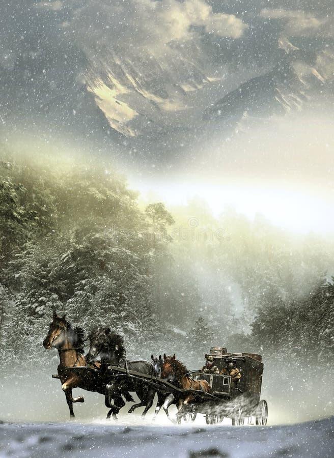 Stagecoach onder storm royalty-vrije illustratie