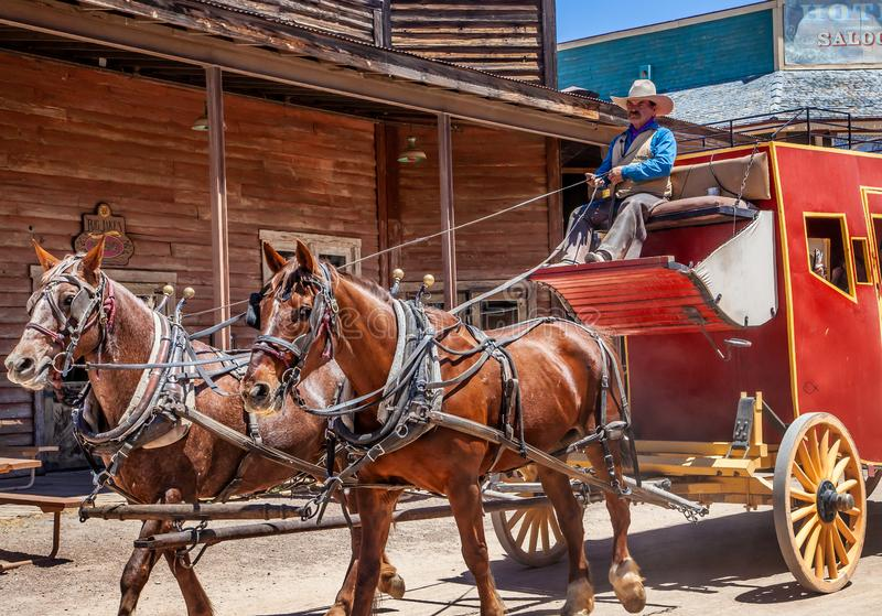 Stagecoach in Oud Tucson royalty-vrije stock fotografie