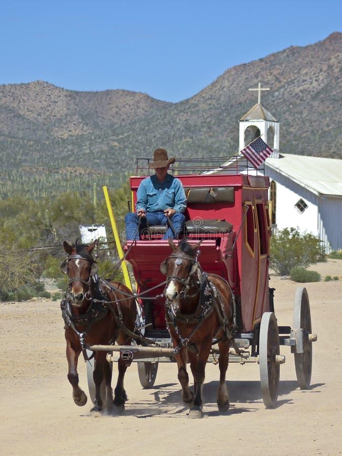 Stagecoach in Oud Tucson, Tucson, Arizona stock foto's