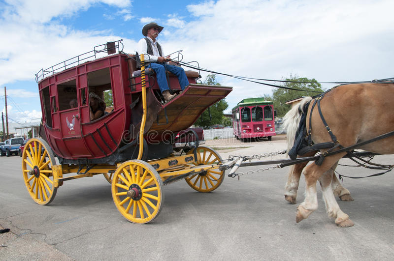 Stagecoach in Tombstone Arizona. Tombstone in Arizona where the Gunfight at the OK Corral was fought in the USA. It is called the Town too tough to die royalty free stock photography
