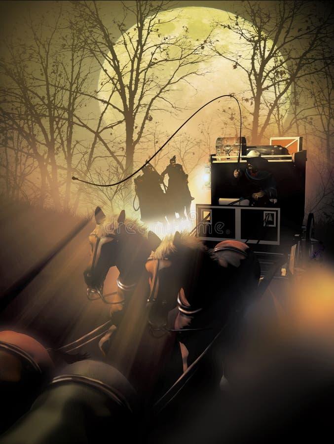 Stagecoach unter Angriff lizenzfreies stockbild