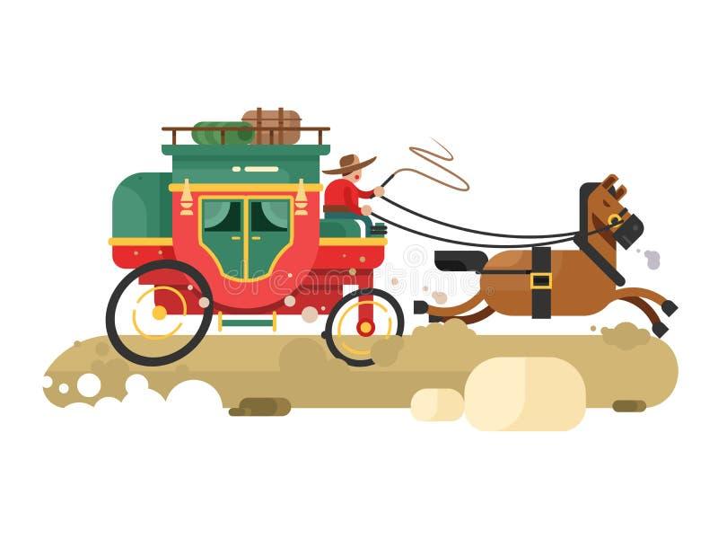 Stagecoach vlak ontwerp royalty-vrije illustratie