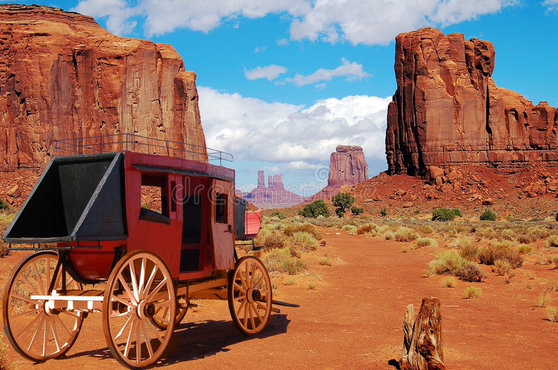 Stagecoach West. Monument Valley, Stagecoach the one mean 0f elegant travel in the old west