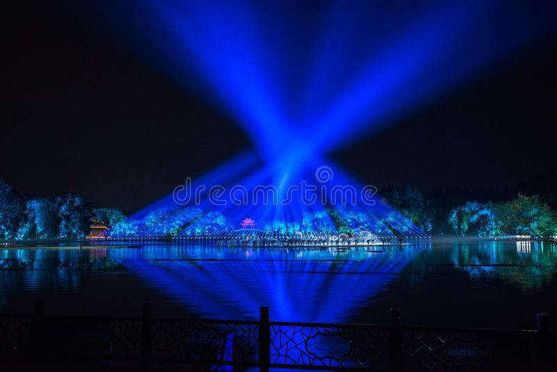 Impressions on the west lake - Around-china - Night with lasers and led lights royalty free stock photography