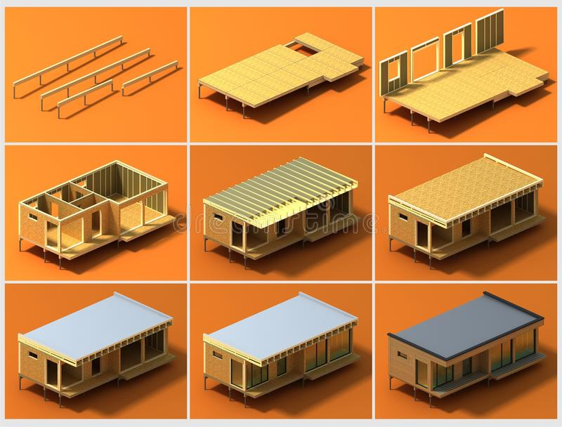 Stages of construction 2 stock illustration illustration for How to build a house cheap and fast