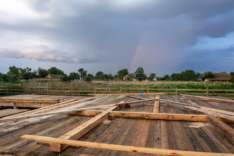 Construction details, Stages of construction of a timber frame house with a triangular type A with rectangular addition stock photography