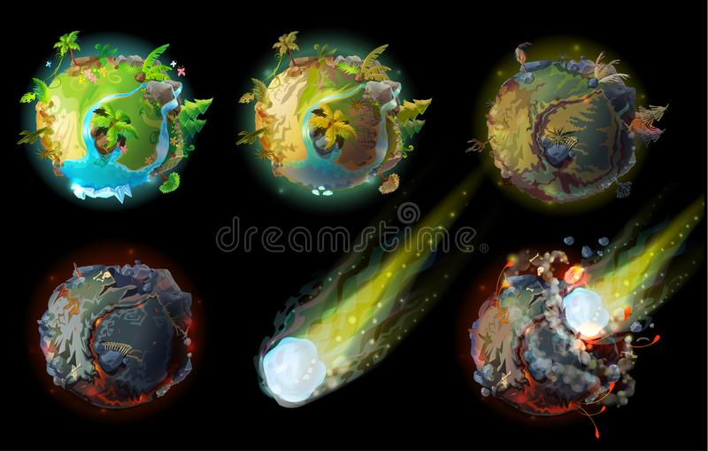 Stages of earth death vector concept illustration. Stages of earth death, climate changes and global warming, heat and drought, asteroid impact on planet, the stock illustration