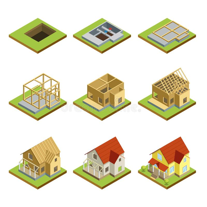 Stages of house construction isometric 3D set. Stages of countryside house construction isometric 3D set. Land preparation, foundation, construction of walls royalty free illustration