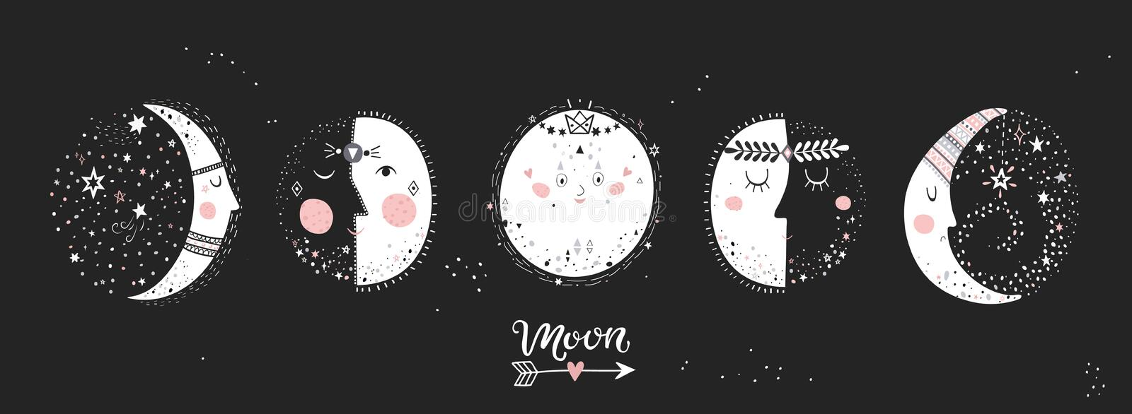 5 stages of the moon. royalty free illustration