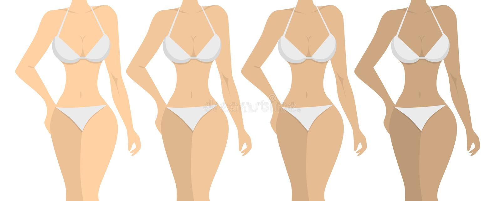 Stages of tanning. royalty free illustration
