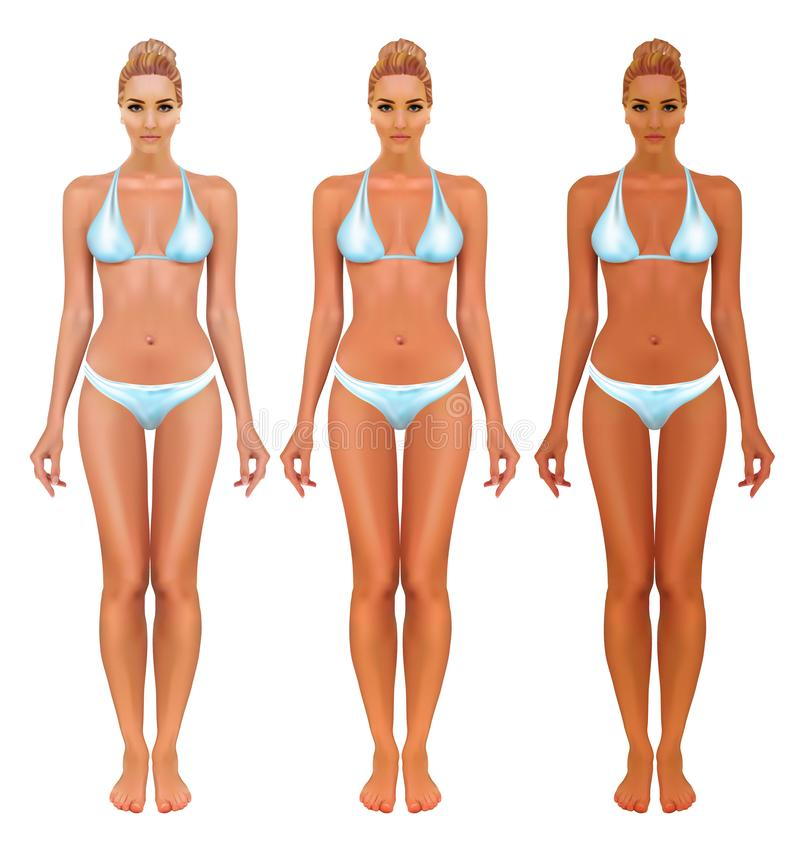 Stages of tanning. ISolated women on white background. royalty free illustration