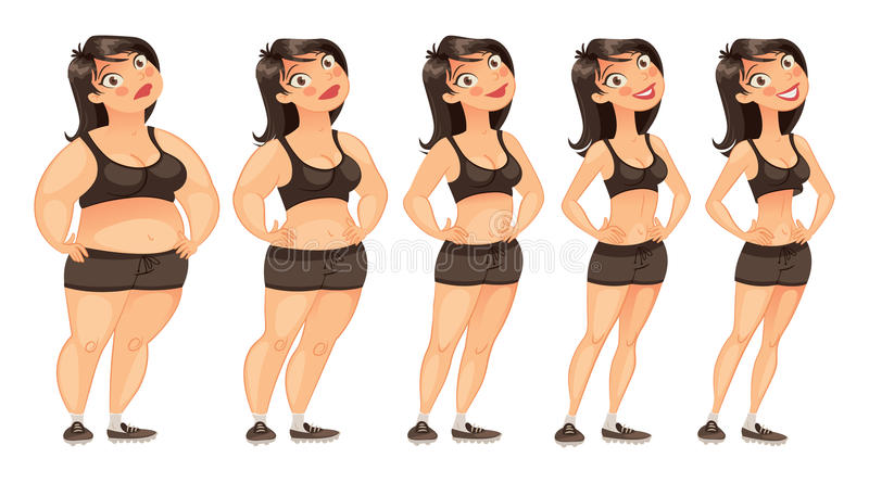 Stages of weight loss. Of a young woman from fat to slim. Gradual development. Funny cartoon character. Vector illustration. Isolated on white background. Set stock illustration