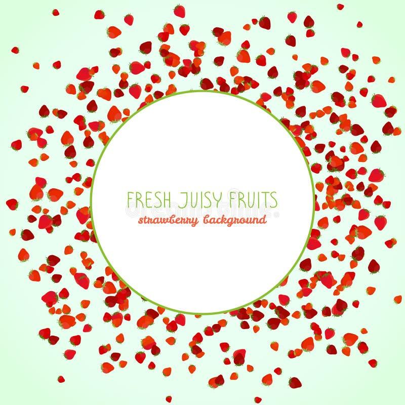 Stagione della fragola Cornice di testo Frutta succosa fresca royalty illustrazione gratis