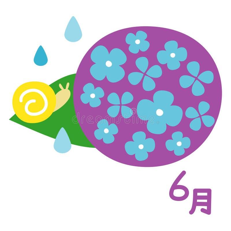Stagione delle pioggie giapponese, ortensia con una lumaca, giugno nel giapponese royalty illustrazione gratis