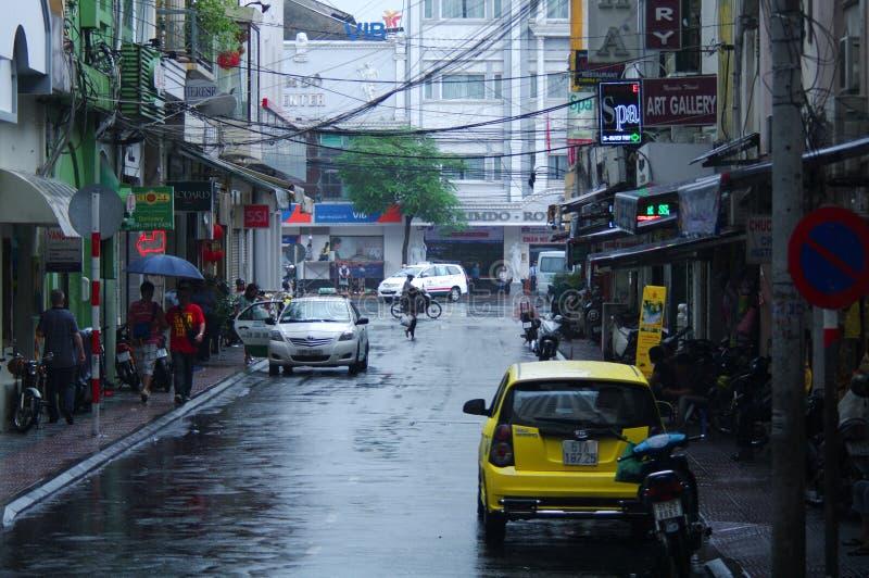 Stagione delle pioggie in Saigon, il Vietnam fotografia stock libera da diritti