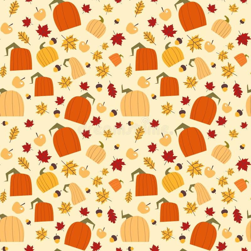 Stagione di caduta dell'ornamento delle foglie e delle zucche della quercia di Autumn Seamless Pattern Background Yellow illustrazione di stock