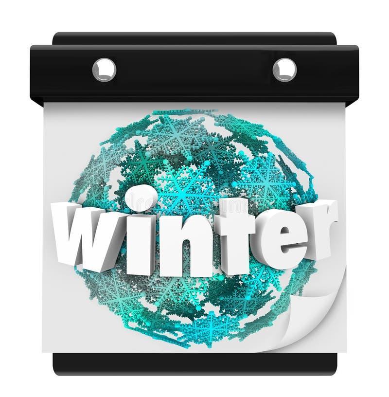 Stagione di inizio della pagina del calendario del fondo del fiocco di neve di inverno illustrazione vettoriale