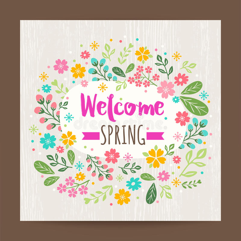Stagione primaverile benvenuta, fondo floreale dell'illustrazione illustrazione di stock
