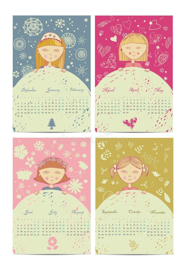 Stagioni del tempo del calendario 2013 royalty illustrazione gratis