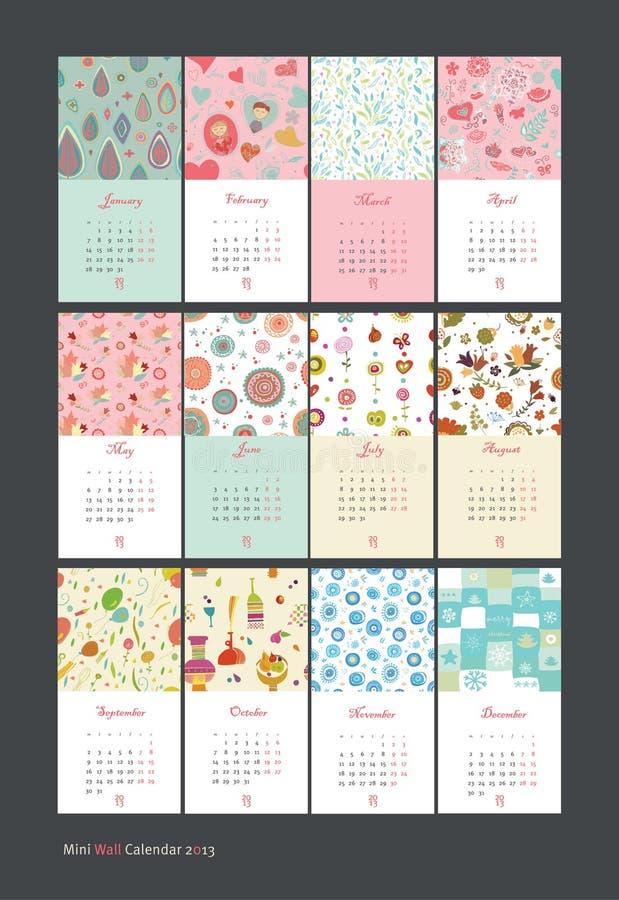 Stagioni del tempo del calendario 2013 illustrazione vettoriale