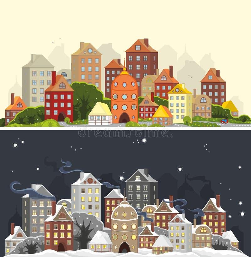 Stagioni della città illustrazione vettoriale