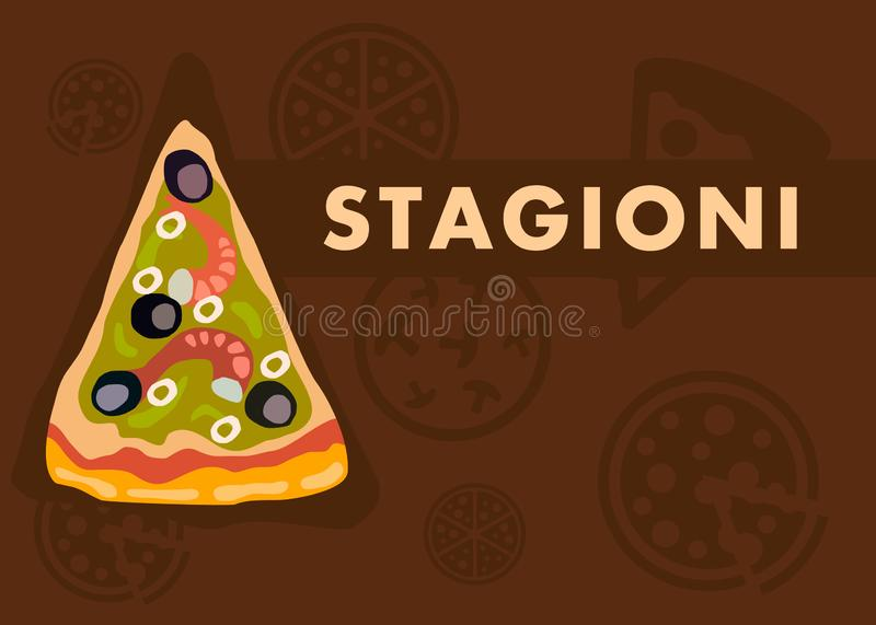 Stagioni Pizza Web Banner Vector Cartoon Template royalty free illustration