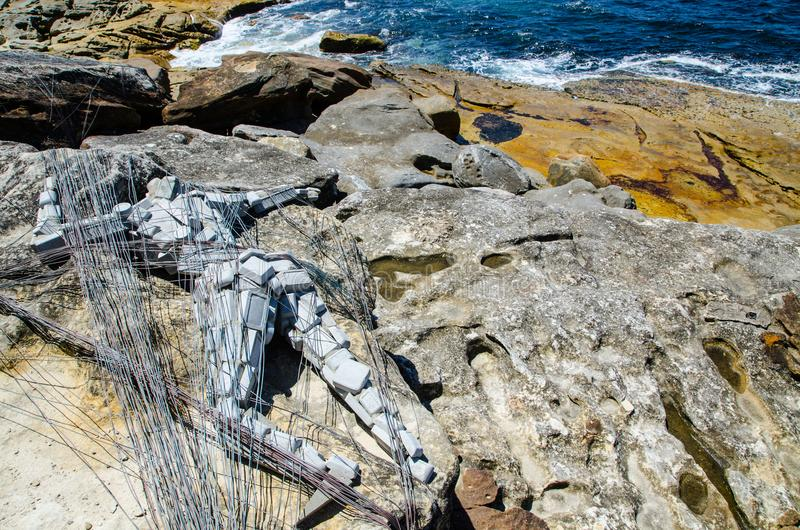 ` Stagnation ` is a sculptural artwork by Elyssa Sykes-Smith at the Sculpture by the Sea annual events free to the public. SYDNEY, AUSTRALIA. – On stock images
